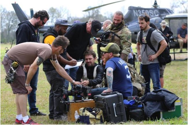 Barrett and crew on the set of Navy SEALs vs. Zombies
