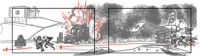 Storyboards of the explosion sequence