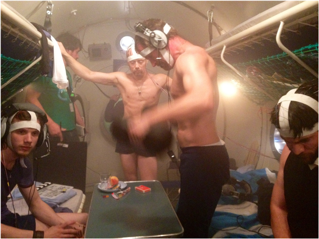 Above, from left to right: David A Jörgensen, Paco Didlaukies (best boy), Aksel Hennie (lead actor), Andre Eriksen and Wes Bentley pumping iron between takes in the pressure chamber.