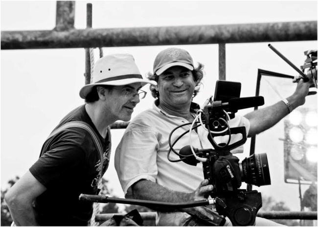 Eric Zala and DP Francisco Gonzalez on set