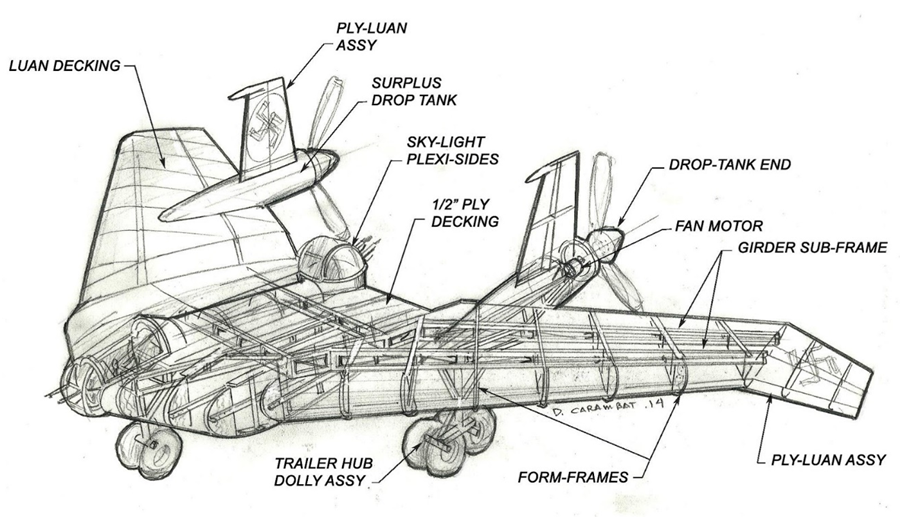 Carambat's blueprints for the airplane