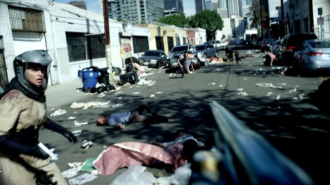 A scene from Pandemic shot on location in downtown L.A.