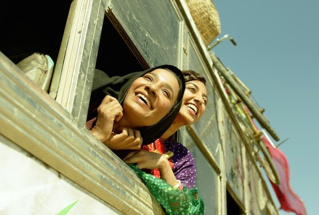 "Tannishtha Chatterjee's Rani and Radhika Apte's Lajjo in an early scene in ""Parched"""