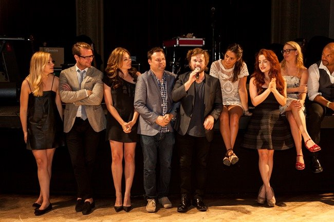 Actor Haley Joel Osmont (center, right), director Isaac Feder (center, left), cast and crew at the opening night screening of Sex Ed