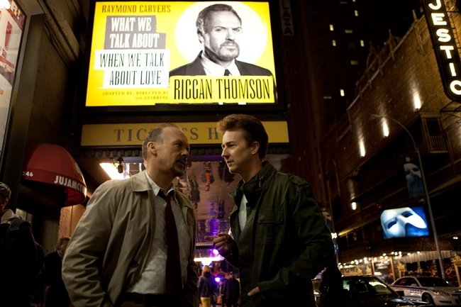 Michael Keaton as Riggan and Edward Norton as Mark in Birdman