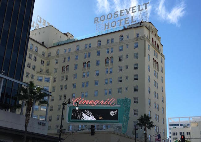 Roosevelt Hotel with cloud