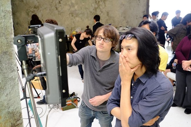 Boyle and DP Richard Wong on the 25-days-three-cities Man From Reno shoot. Photograph by Mye Hoang