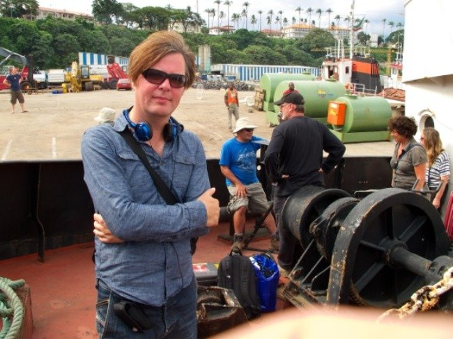 Director Rudolf Buitendach on location in Malabo harbor. Photograph by Ruben Monsuy