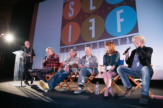 """Big Wednesday"" cast reunion at 2015 Surf Nite in SLO: 2nd unit director Greg MacGillivray, Gary Busey, Rick Dano, Denny Aaberg, Lee Purcell and William Katt. Courtesy of SLOIFF Alan Fraser/Sonrisa Photography."