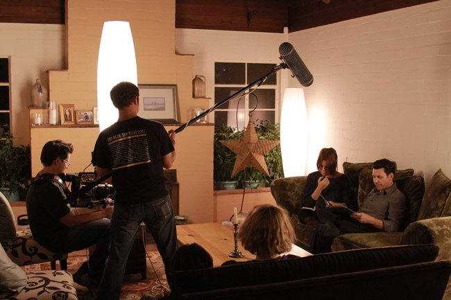 The author and crew shoot his 2014 film, Favor