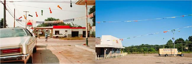Left: CITGO by William Eggleston; Right: a still from Dixieland