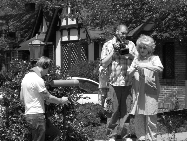 Balderson (center) with actress Karen Black shooting the film Stuck. Photograph by David Bags