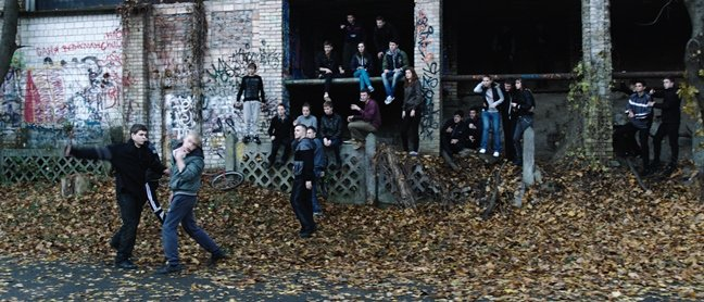 A fight breaks out in an abandoned building in The Tribe