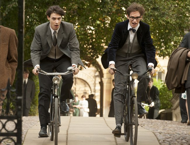 Cambridge students Brian (Harry Lloyd) and Stephen (Eddie Redmayne) go for a spin in The Theory of Everything.