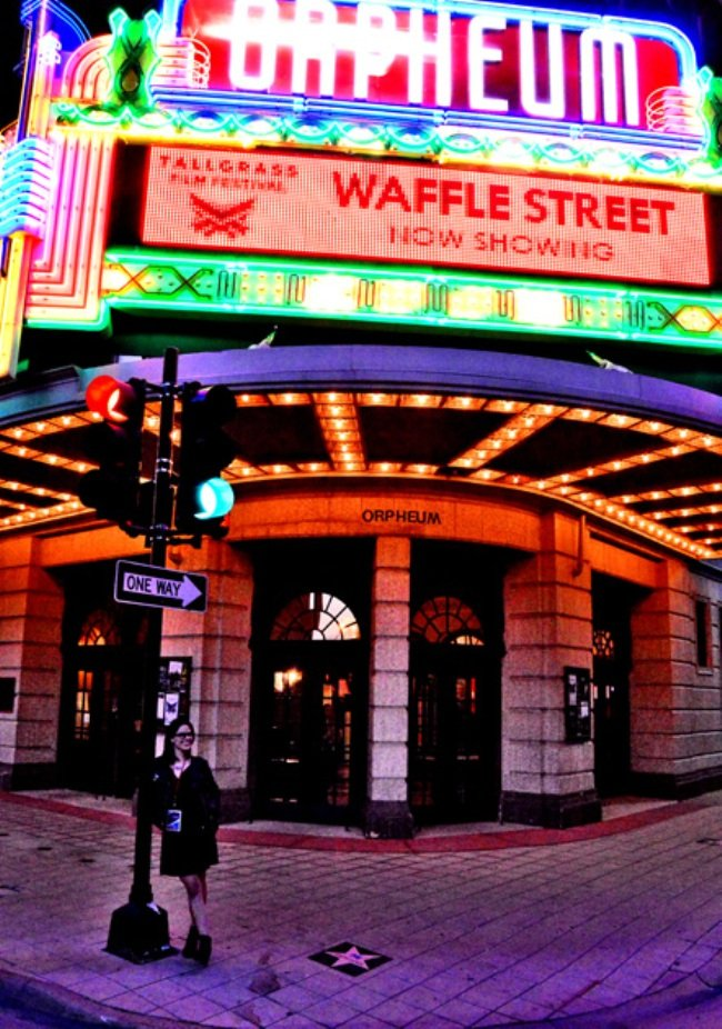 Outside the Orpheum Theater at the Tallgrass Film Festival. Photograph by Tallgrass Press Corps