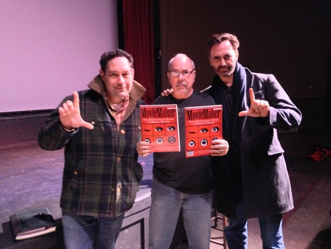Oregon Motion Picture Association executive director Tom McFadden, instructor Dov Simens, and MovieMaker editor-in-chief Tim Rhys at the Dov Simens' 2-Day Film School in Portland, OR. — at Clinton Street Theater.
