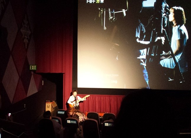 Made in Japan star Tomi Fujiyama performs after a screening of the doc