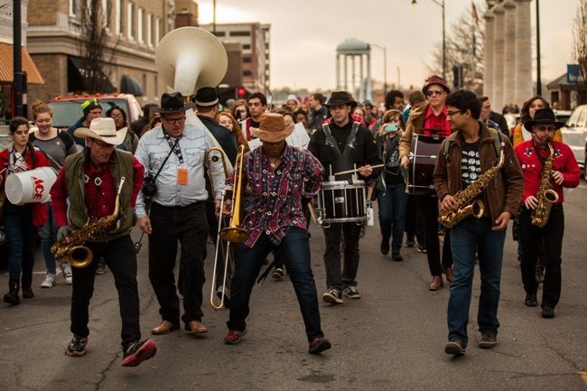Columbia, Missouri comes live during True/False's March March parade. (Photo by Noah Frick-Alofs)