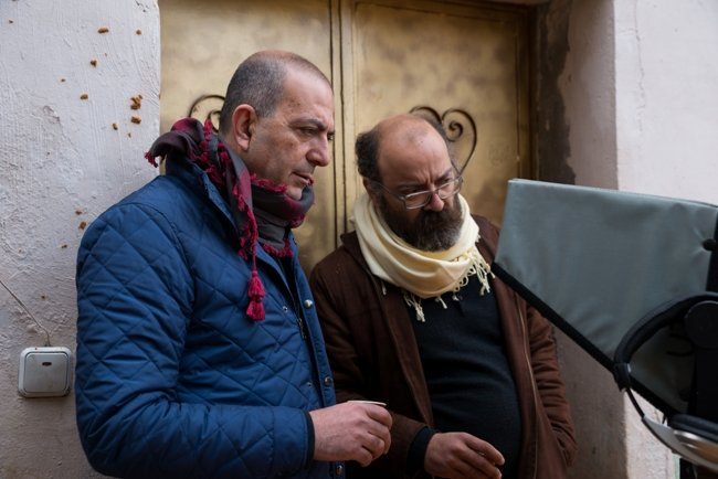 Hany Abu-Assad (left) with production designer Nael Kanj, making The Idol