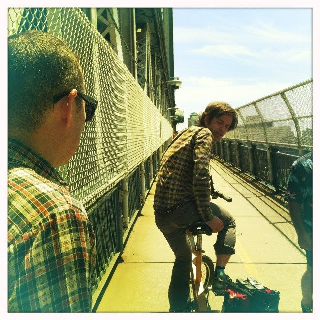 Day One of the shoot on a blindingly hot Manhattan Bridge