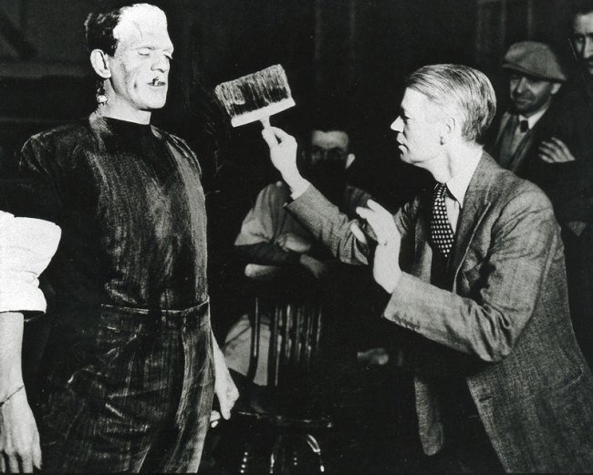 Boris Karloff and director James Whale on the set of Frankenstein