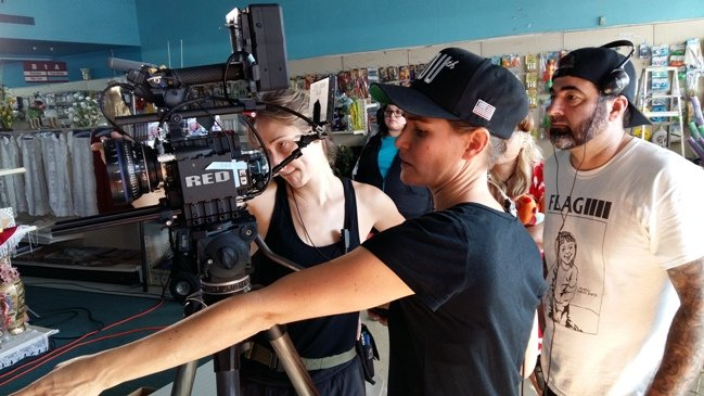 DP Bianca Butti (forefront) with director Anthony Pedone (right) on the set of An American in Texas. Photograph by Stuart Allister