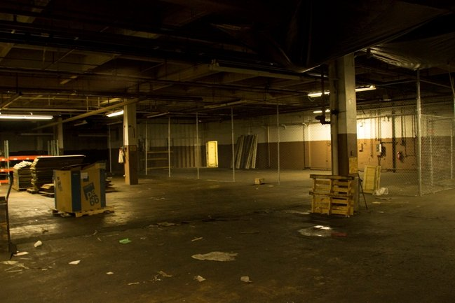 The warehouse in the climax, before being dressed. Photograph by Tom Meredith