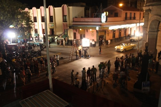 An exterior night scene in Papa
