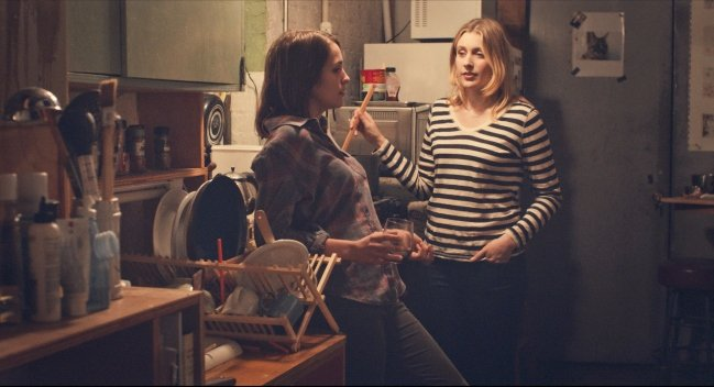 """Lola Kirke as """"Tracy"""" and Greta Gerwig as """"Brooke"""" in MISTRESS AMERICA. Photo courtesy of Fox Searchlight Pictures. © 2015 Twentieth Century Fox Film Corporation All Rights Reserved"""