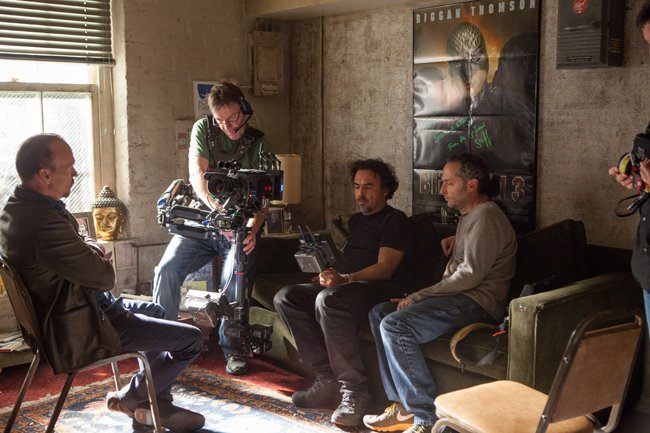 "Michael Keaton, Director Alejandro Iñárritu and Cinematographer Emmanuel ""Chivo"" Lubezki on set."