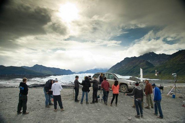 The crew gladly gets another shot of lead Ella Purnell before the magnificent Matanuska Glacier in Southeast Alaska.