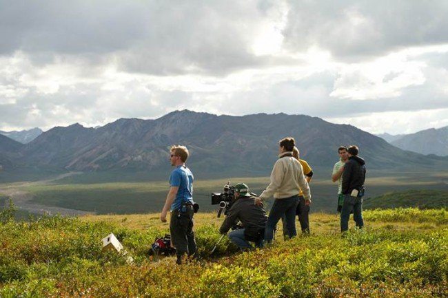 Key crew including DP Hillary Spera, Key Grip Garrett Cantrell, AC Justin Cameron and AD Chris Carroll take in the awe of the Polychrome Mountians in Denali National Park before shooting our preciously approved shots for the camping dinner scene.