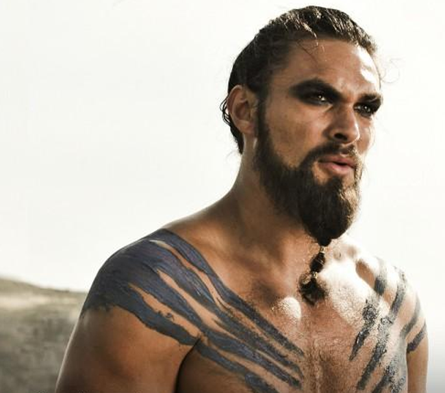 Momoa as Drogo in the first season of Game of Thrones