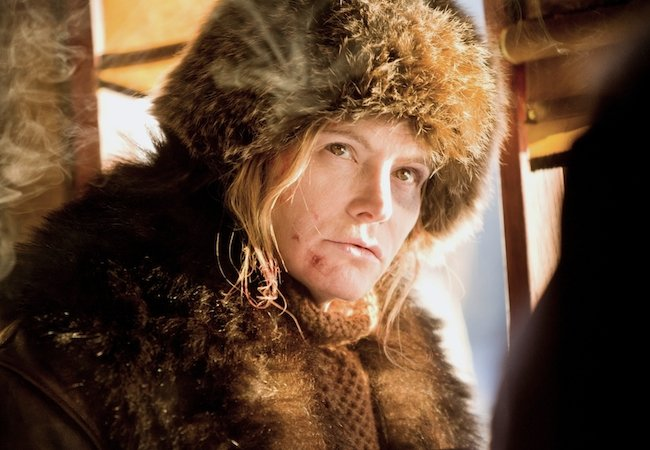 Jennifer Jason Leigh as Daisy Domergue in The Hateful Eight. © 2015 – The Weinstein Company