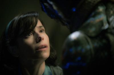 Sally Hawkins and Doug Jones in The Shape of Water. Photograph by Kerry Hayes.