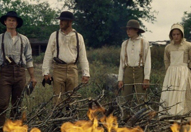 (From left to right) James Badge Dale as Wade, Ethan Embry as Seamus, Owen Teague as Sam, and Maika Monroe as Abigail in Thriller/Western Echoes of War. Photo courtesy of ARC Entertainment.