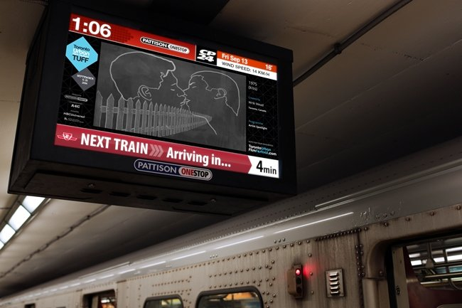 A TUFF 2014-selected short plays on a subway screen.