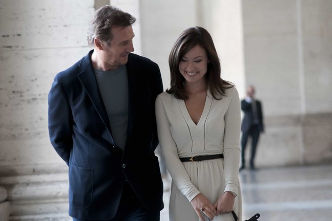 Liam Neeson and Olivia Wilde share a moment in Third Person
