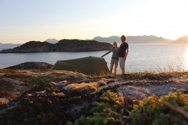 Holdridge and Saasen in Lofoten, Norway, where they learned that Meet Me in Montenegro was accepted into the Toronto International Film Festival. Courtesy of Alex Holdridge